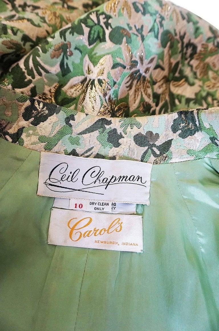 1960s Ceil Chapman Green Metallic Silk Brocade Mini Dress For Sale 4