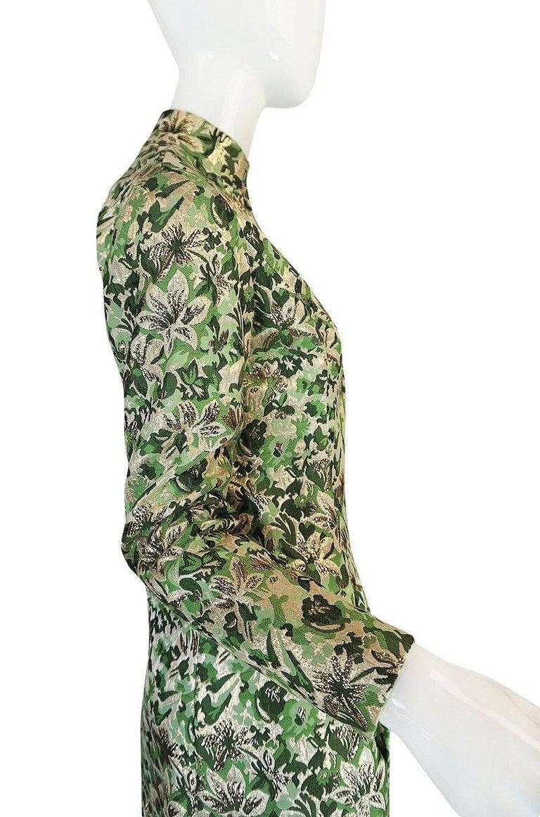 1960s Ceil Chapman Green Metallic Silk Brocade Mini Dress For Sale 1