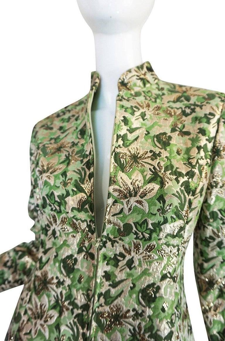 1960s Ceil Chapman Green Metallic Silk Brocade Mini Dress For Sale 2