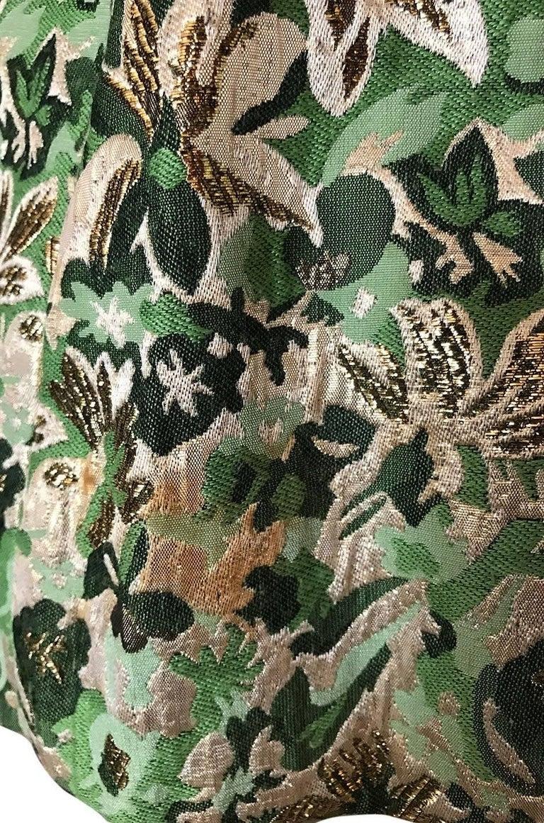 1960s Ceil Chapman Green Metallic Silk Brocade Mini Dress For Sale 3