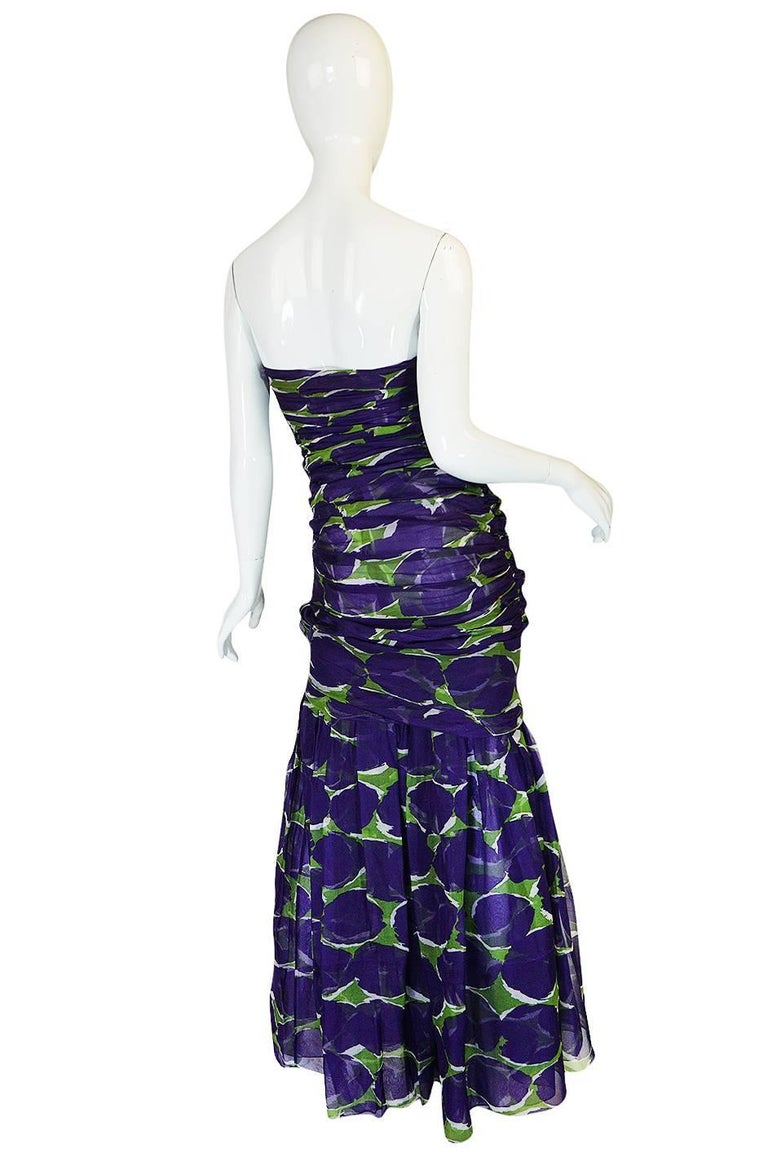 c1985 Yves Saint Laurent Purple & Green Silk Voile Strapless Dress 2