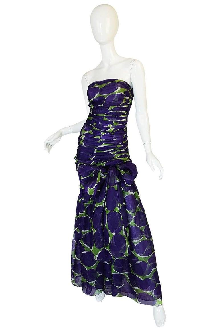 Black c1985 Yves Saint Laurent Purple & Green Silk Voile Strapless Dress For Sale