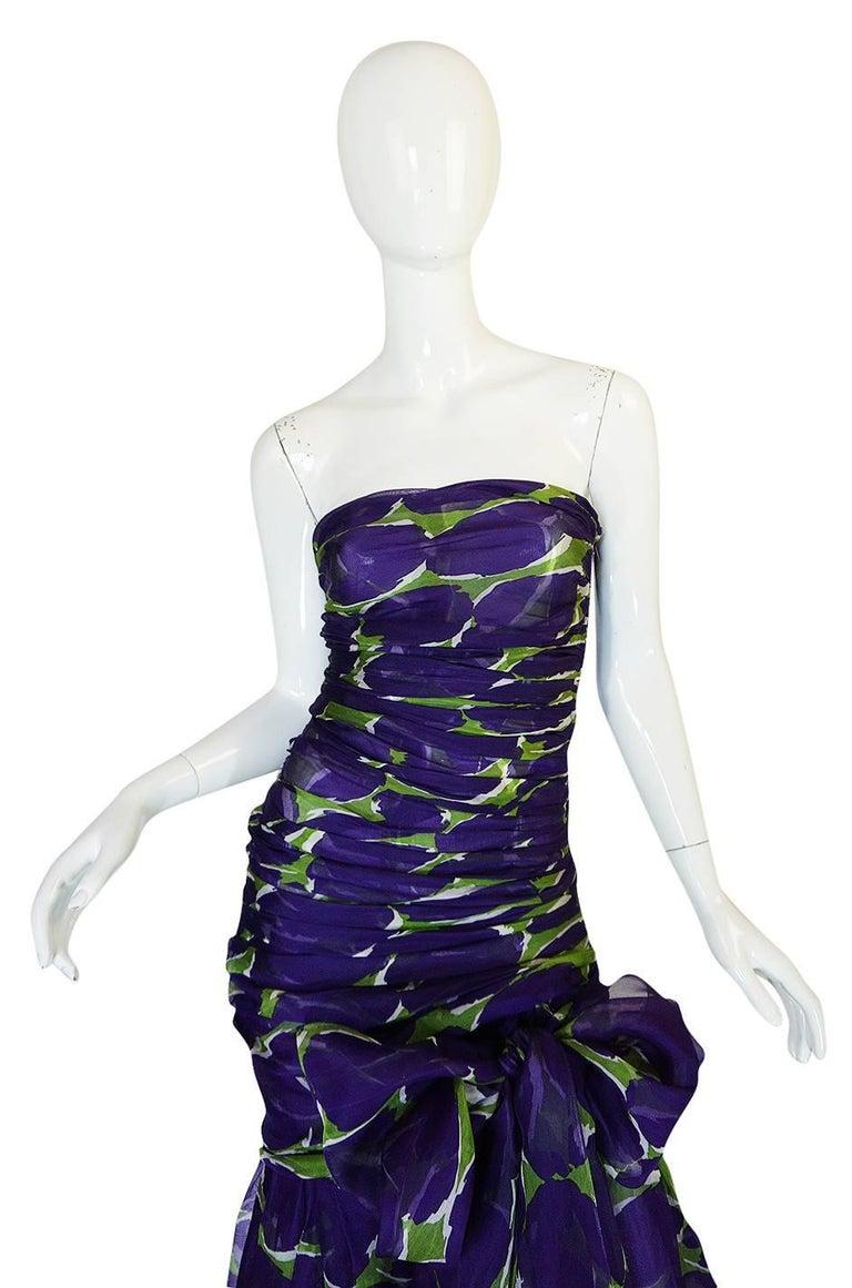 Women's c1985 Yves Saint Laurent Purple & Green Silk Voile Strapless Dress For Sale