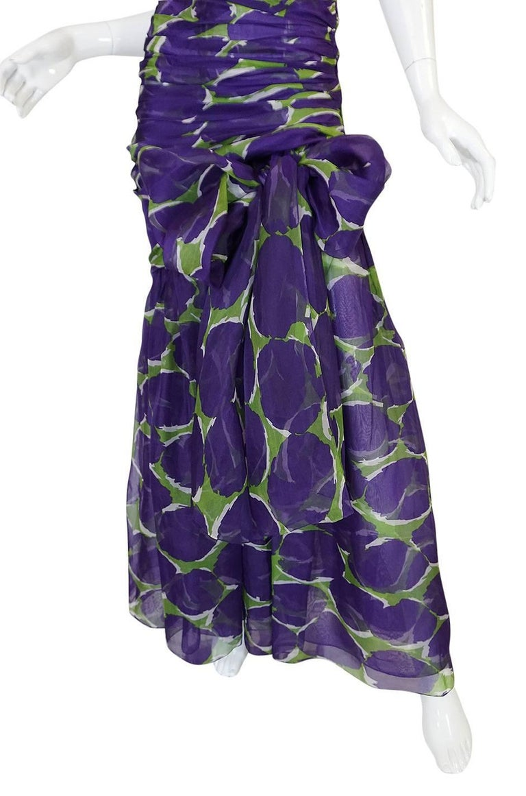 c1985 Yves Saint Laurent Purple & Green Silk Voile Strapless Dress 6