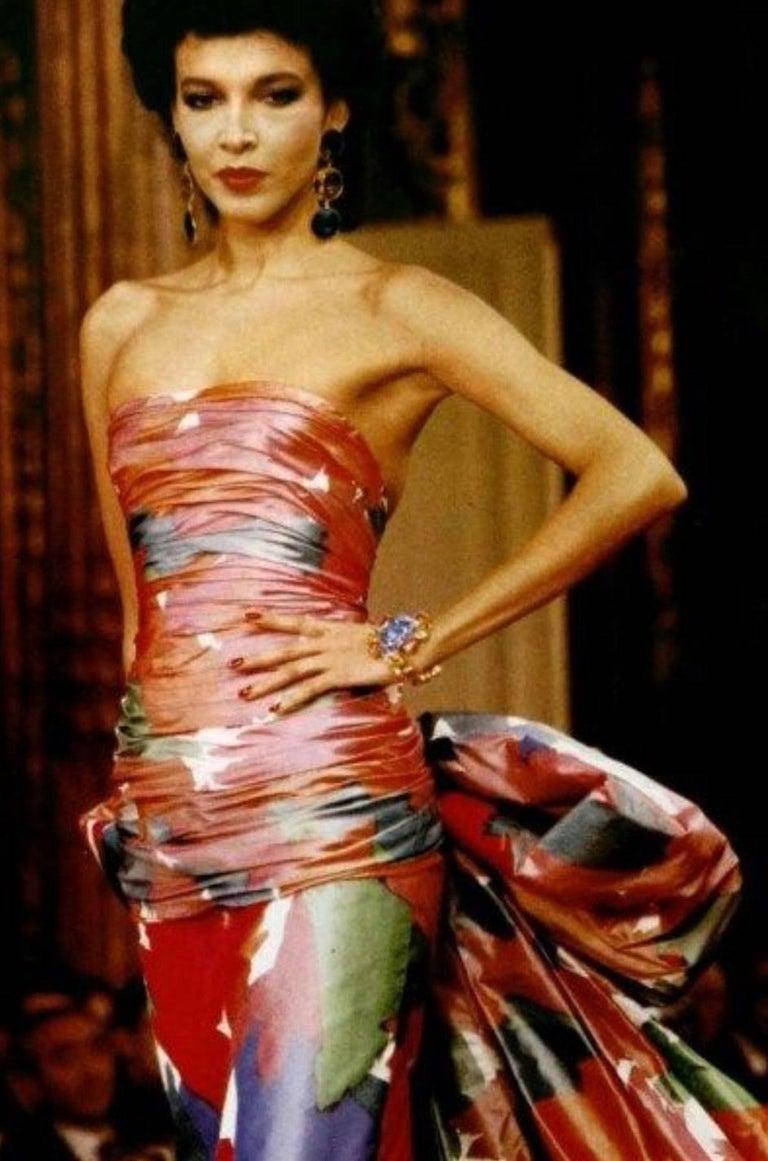 c1985 Yves Saint Laurent Purple & Green Silk Voile Strapless Dress For Sale 5