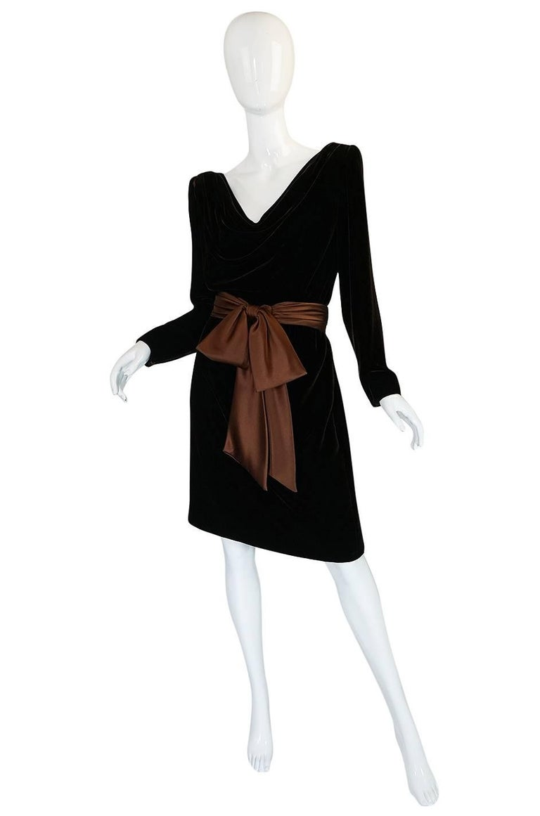 Black c1983 Hubert de Givenchy Haute Couture Velvet Dress w Silk Bow For Sale