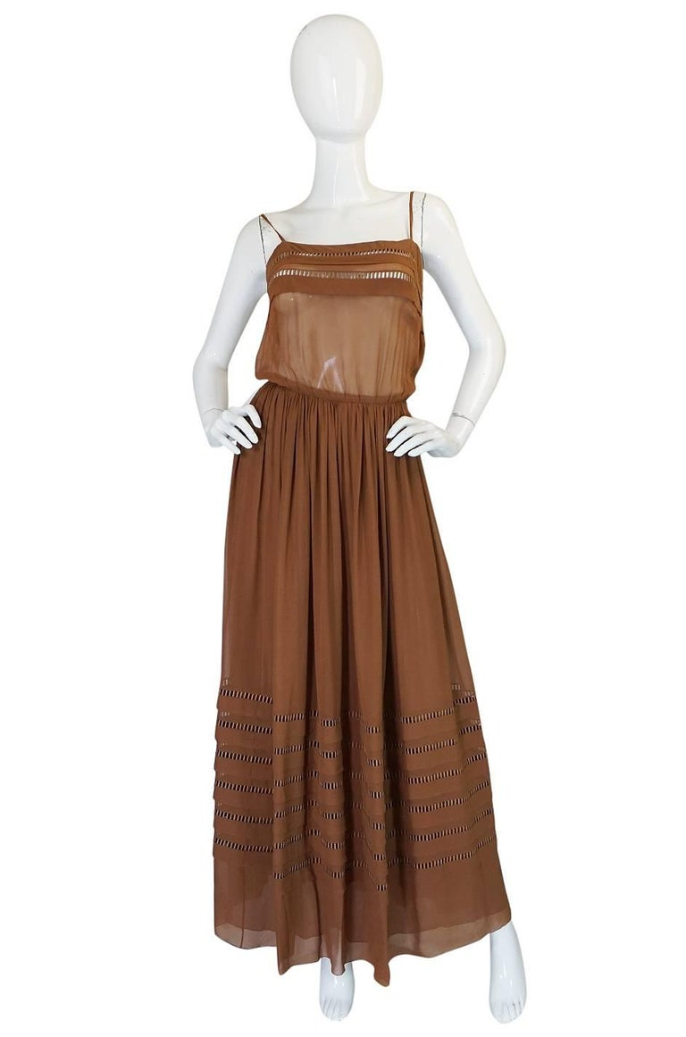 Brown c.1978 Christian Dior Haute Couture Silk Dress with Lame Belt For Sale