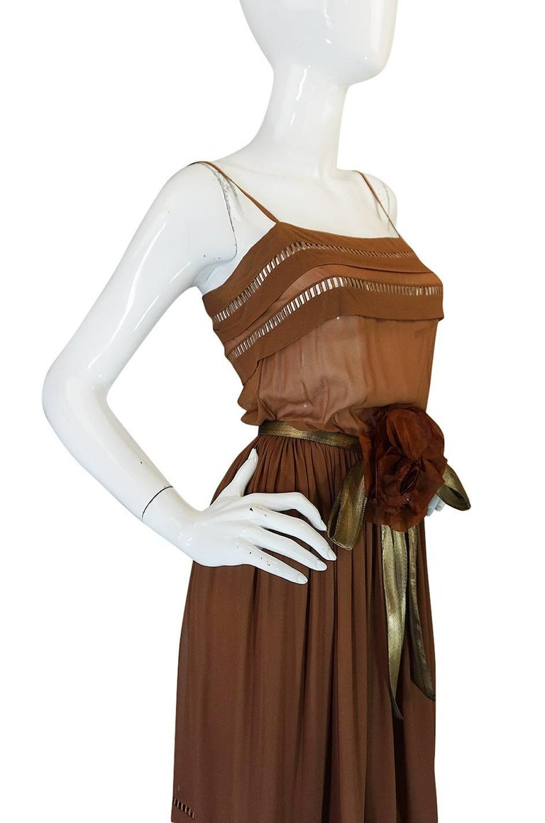 c.1978 Christian Dior Haute Couture Silk Dress with Lame Belt In Excellent Condition For Sale In Toronto, CA