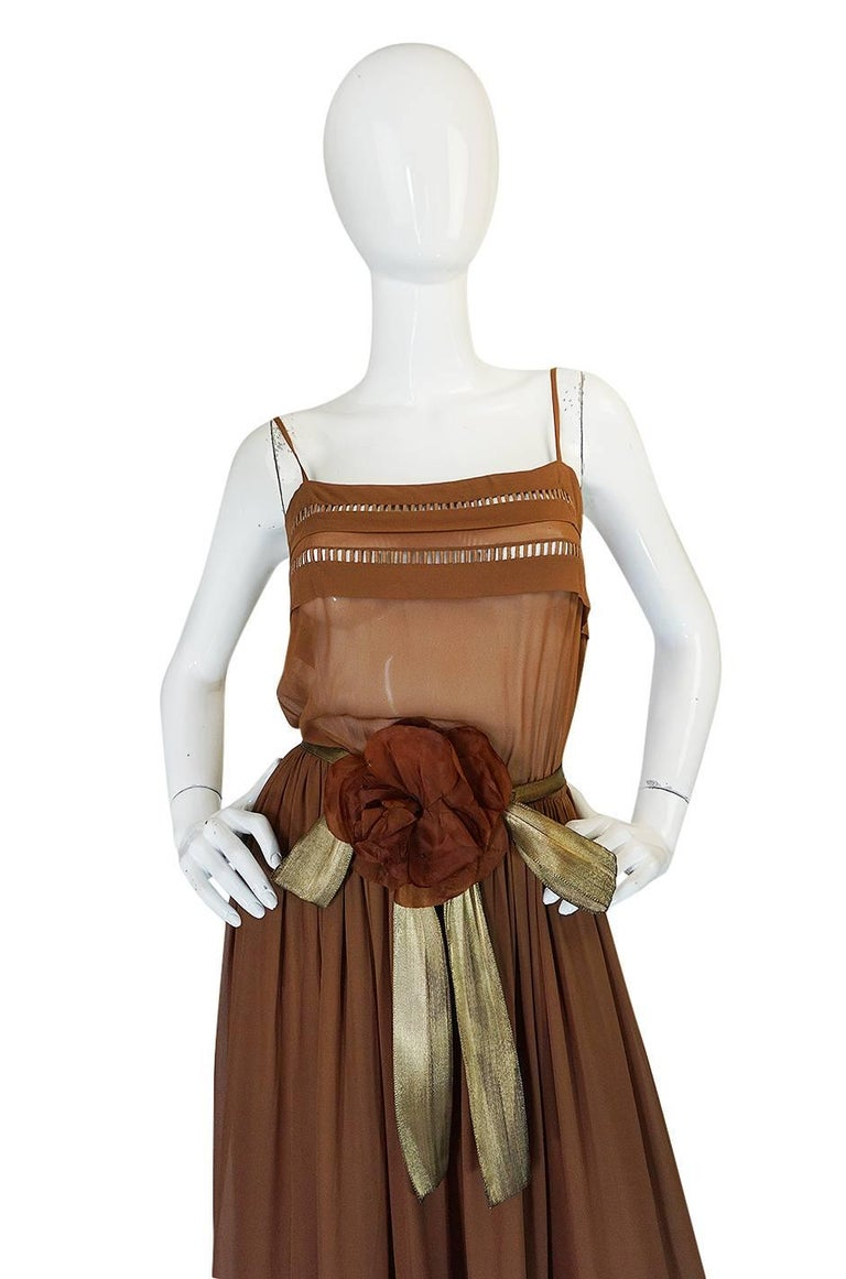 Women's c.1978 Christian Dior Haute Couture Silk Dress with Lame Belt For Sale