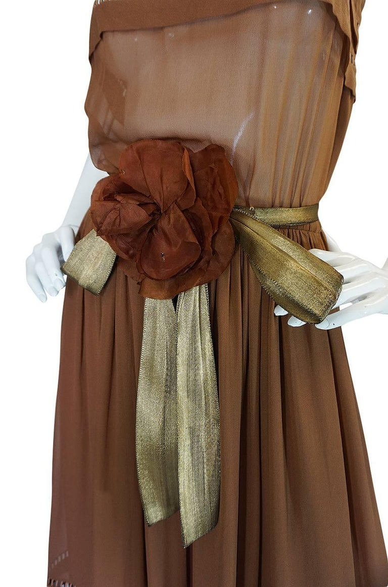 c.1978 Christian Dior Haute Couture Silk Dress with Lame Belt For Sale 2