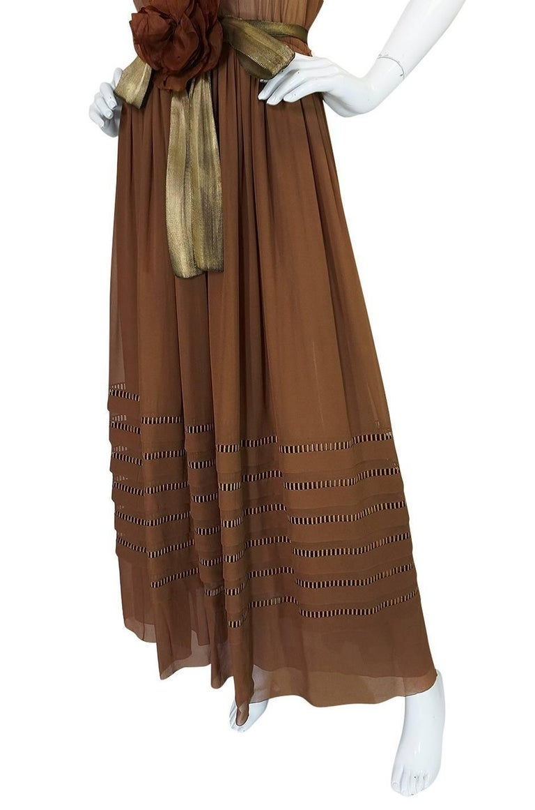 c.1978 Christian Dior Haute Couture Silk Dress with Lame Belt For Sale 3