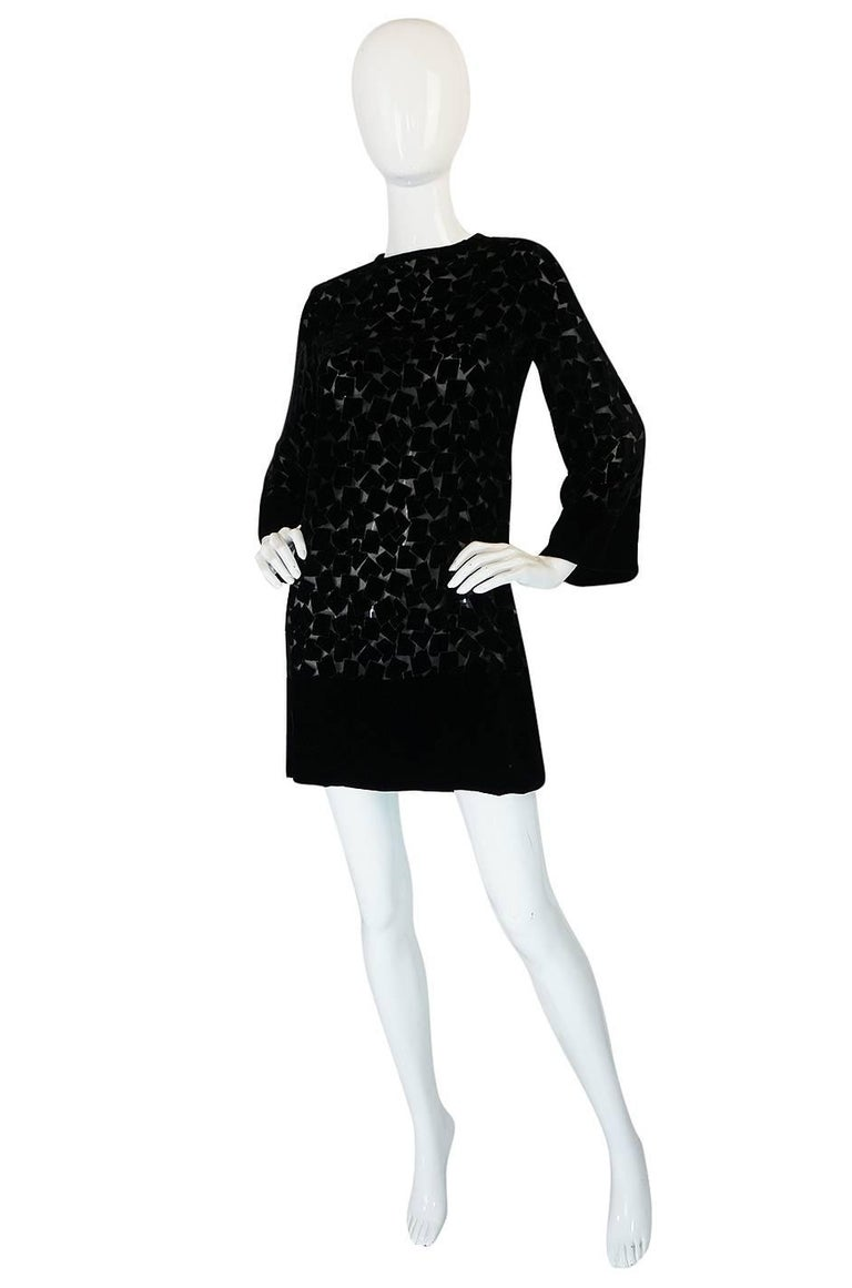 Black 1970s Yves Saint Laurent Fused Velvet & Silk Chiffon Shift Dress For Sale
