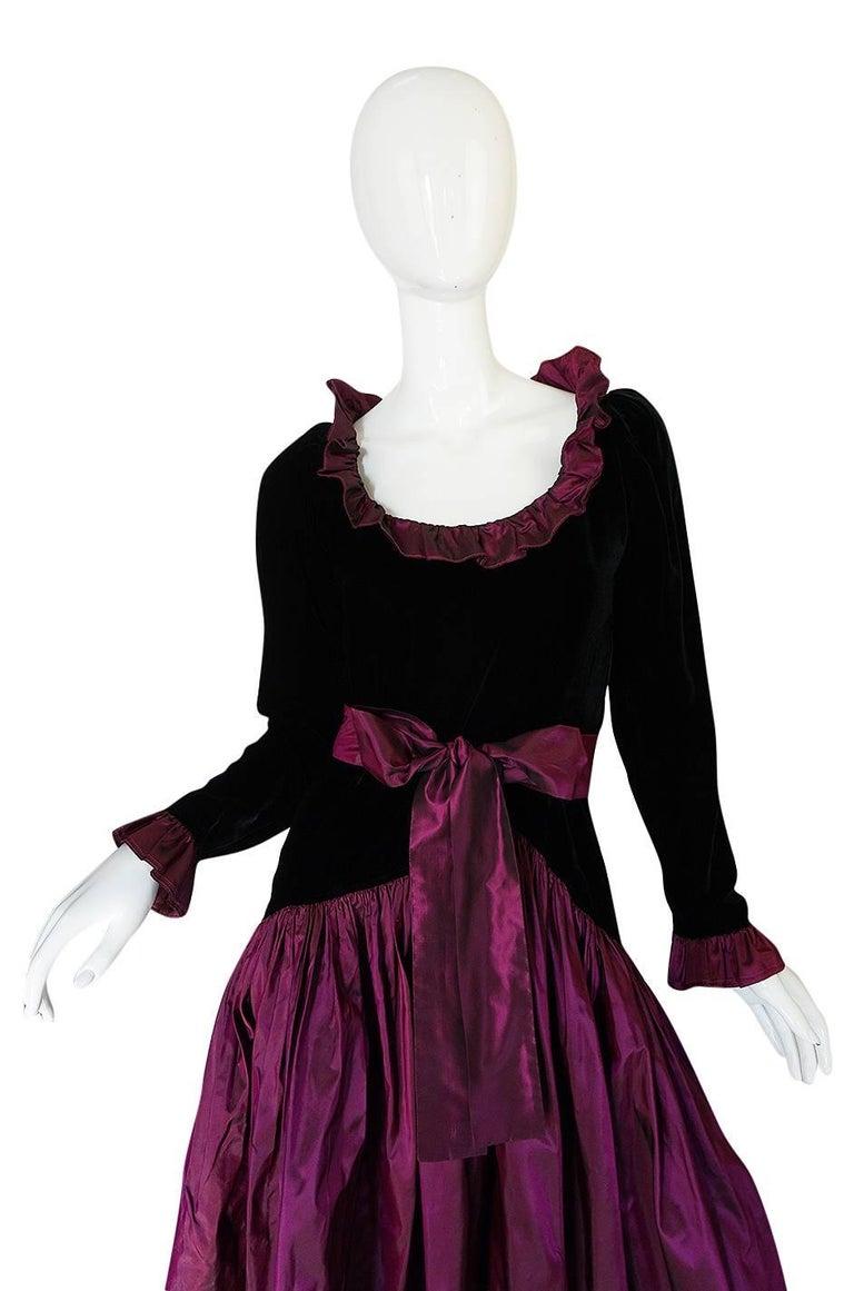 Black c1979-1980 Yves Saint Laurent Velvet & Silk Taffeta Dress For Sale