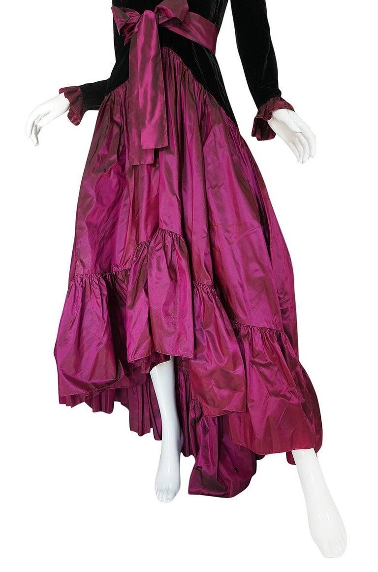 c1979-1980 Yves Saint Laurent Velvet & Silk Taffeta Dress For Sale 1