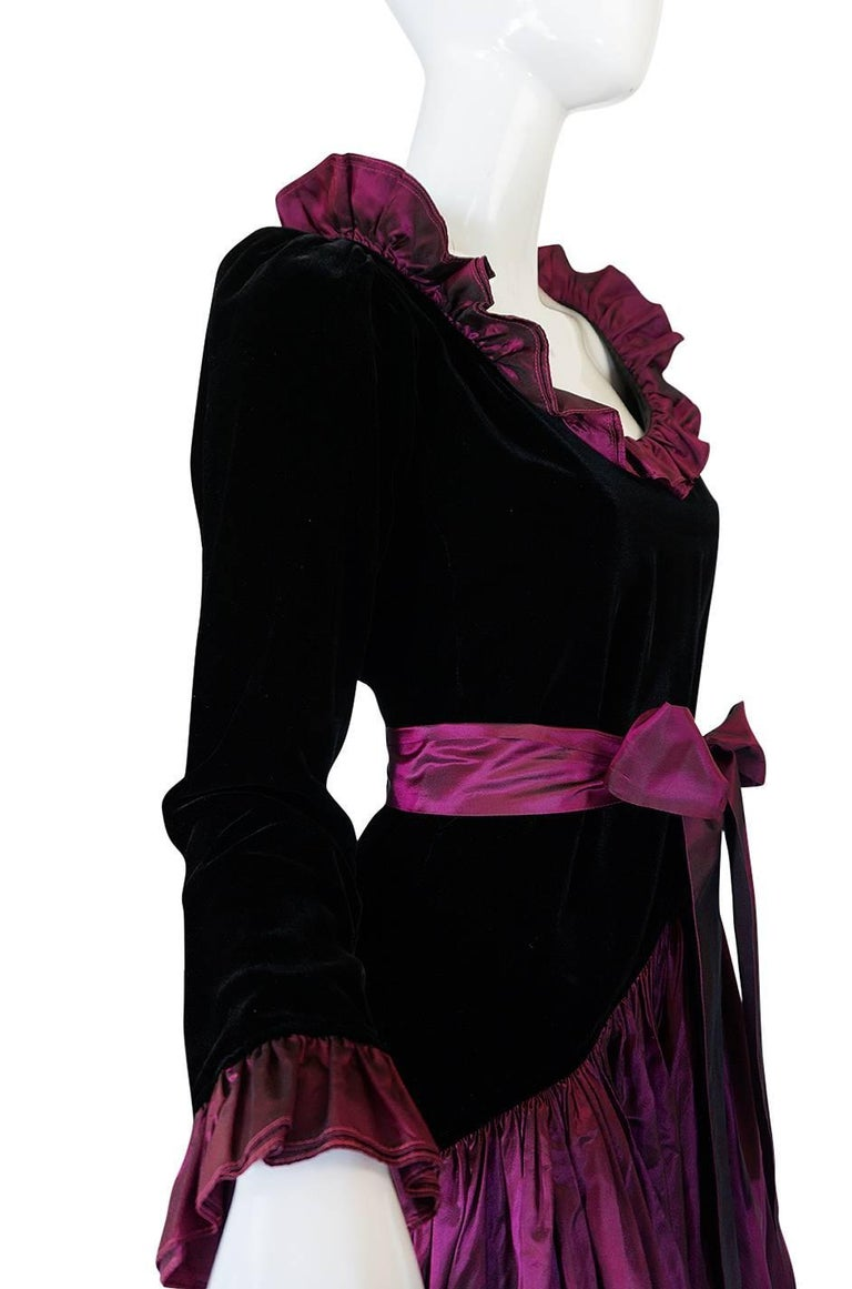 Women's c1979-1980 Yves Saint Laurent Velvet & Silk Taffeta Dress For Sale