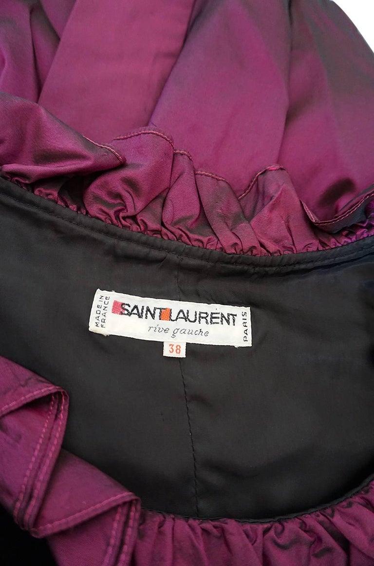 c1979-1980 Yves Saint Laurent Velvet & Silk Taffeta Dress For Sale 4