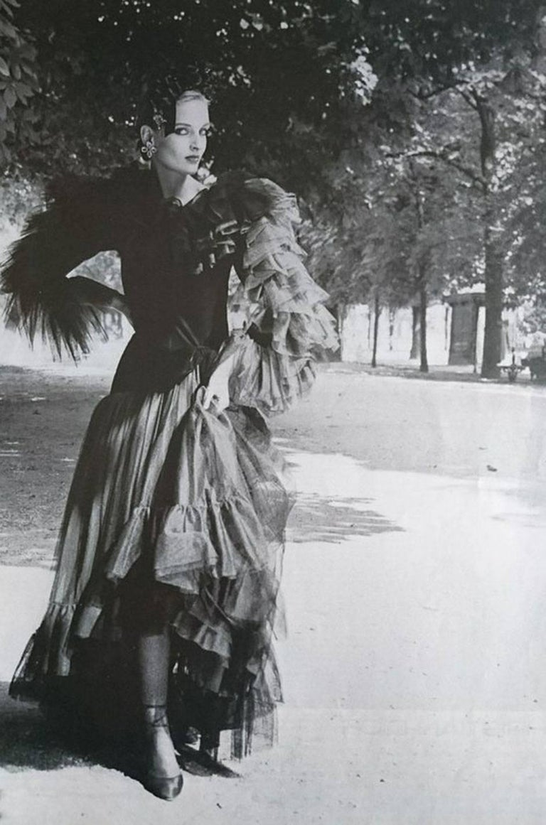 c1979-1980 Yves Saint Laurent Velvet & Silk Taffeta Dress For Sale 5