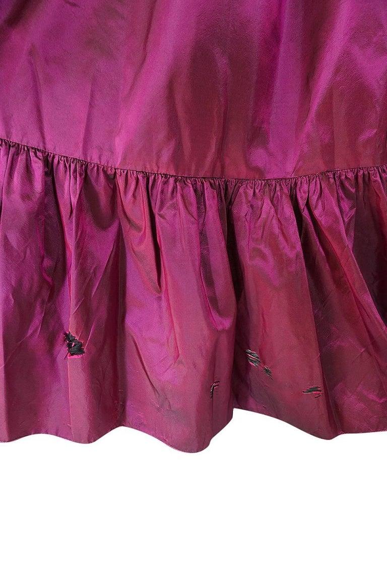 c1979-1980 Yves Saint Laurent Velvet & Silk Taffeta Dress For Sale 3