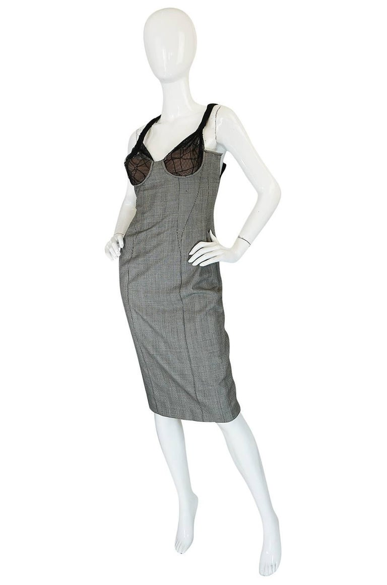 Gray S/S 1998 Gianni Versace Couture Houndstooth Dress w Lace Cups For Sale