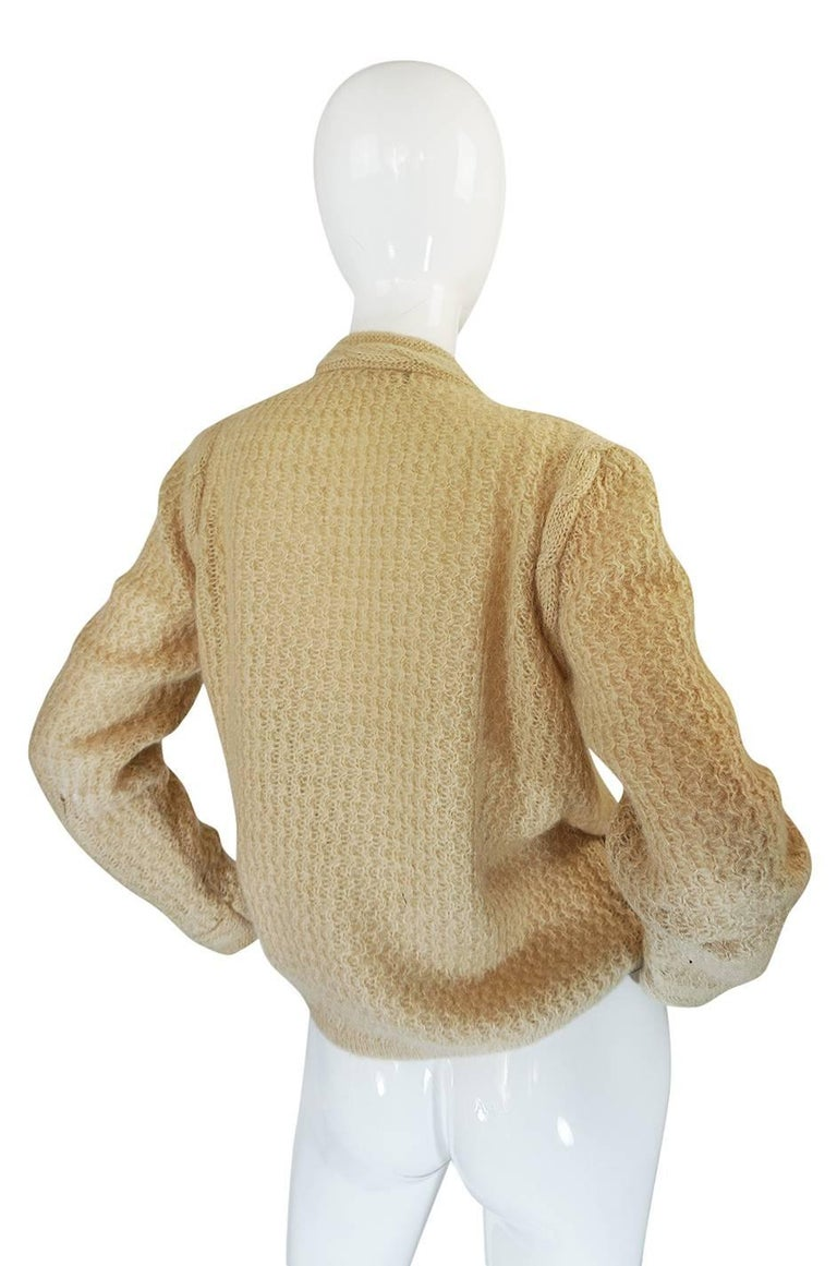 1970s Chanel Creations Camel Color Knit Sweater Cardigan 2