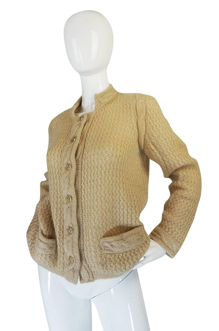 1970s Chanel Creations Camel Color Knit Sweater Cardigan 3