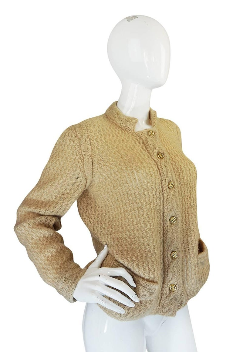 1970s Chanel Creations Camel Color Knit Sweater Cardigan 4