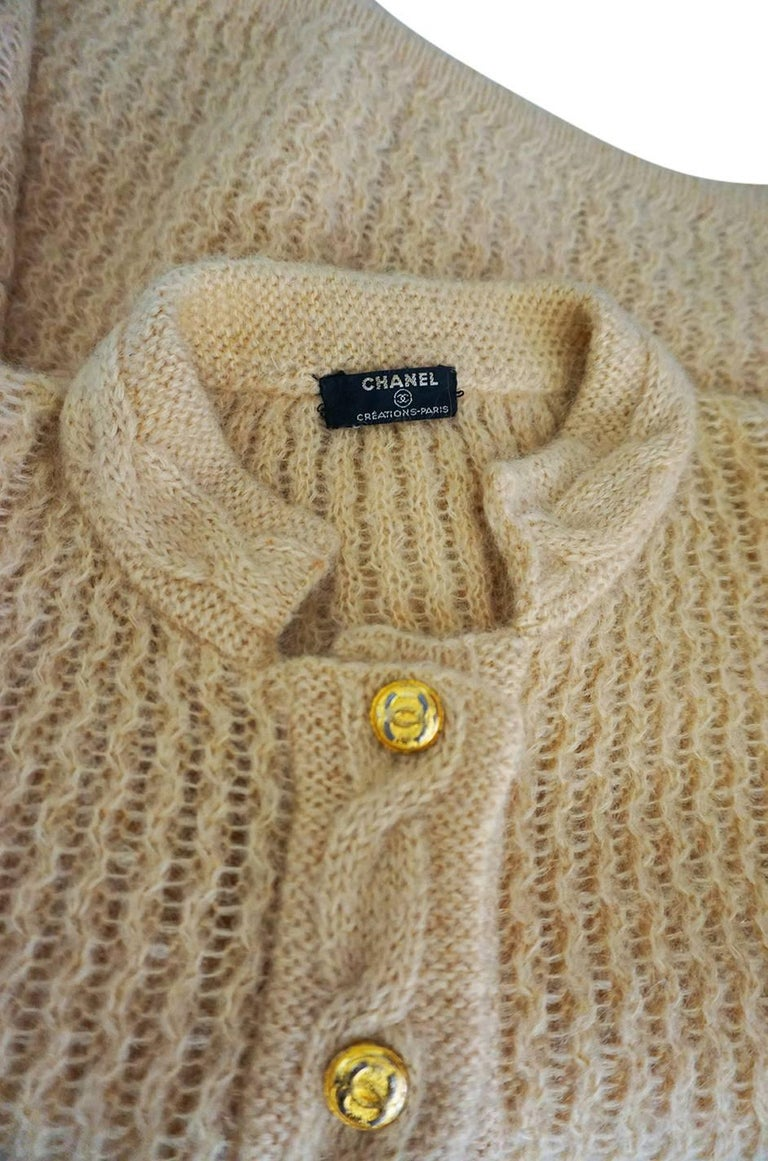 1970s Chanel Creations Camel Color Knit Sweater Cardigan 5