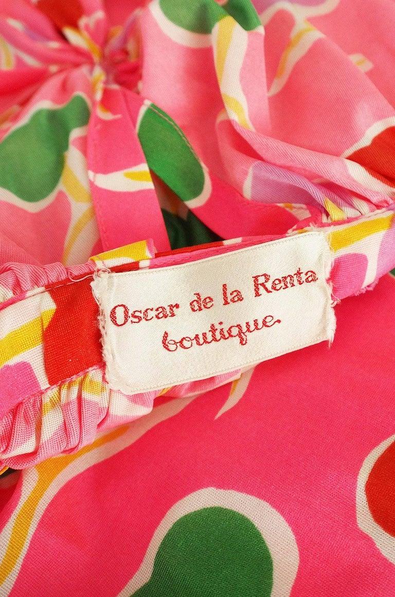 1970s Oscar de la Renta Bright Pink Front Cut Out Halter Dress For Sale 4