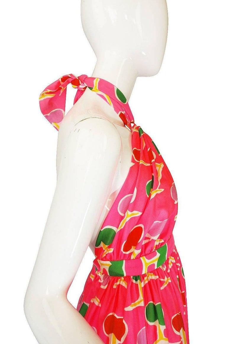 1970s Oscar de la Renta Bright Pink Front Cut Out Halter Dress For Sale 2