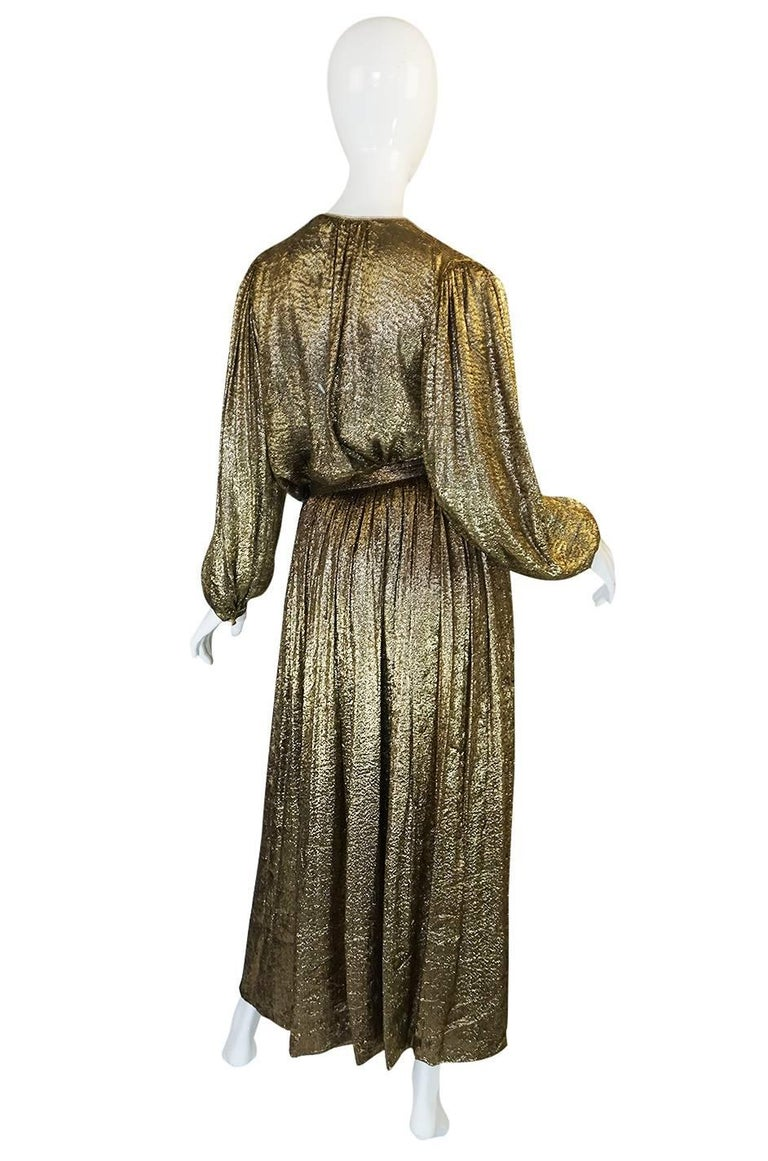 Yves Saint Laurent Documented Gold Metallic Lame Set, 1976-1977  2