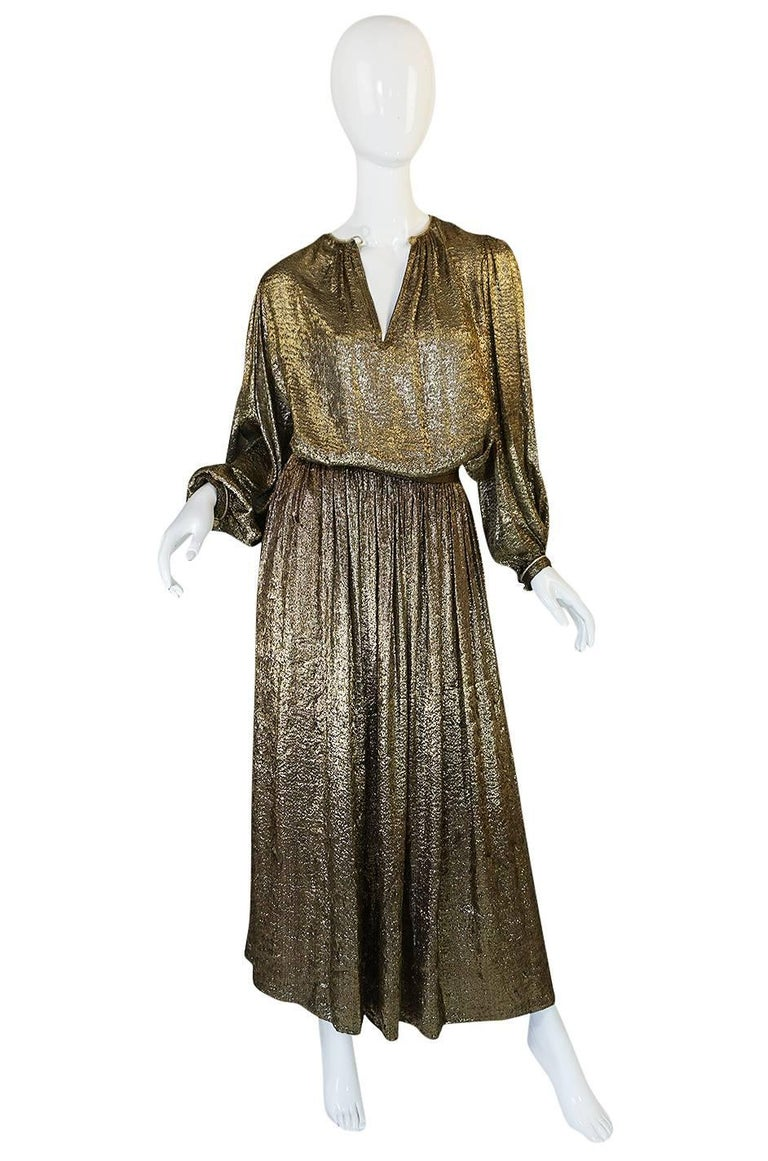 Yves Saint Laurent Documented Gold Metallic Lame Set, 1976-1977  3