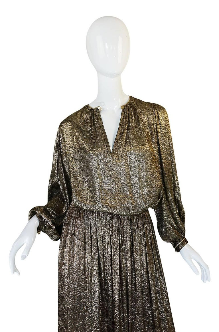 Yves Saint Laurent Documented Gold Metallic Lame Set, 1976-1977  6