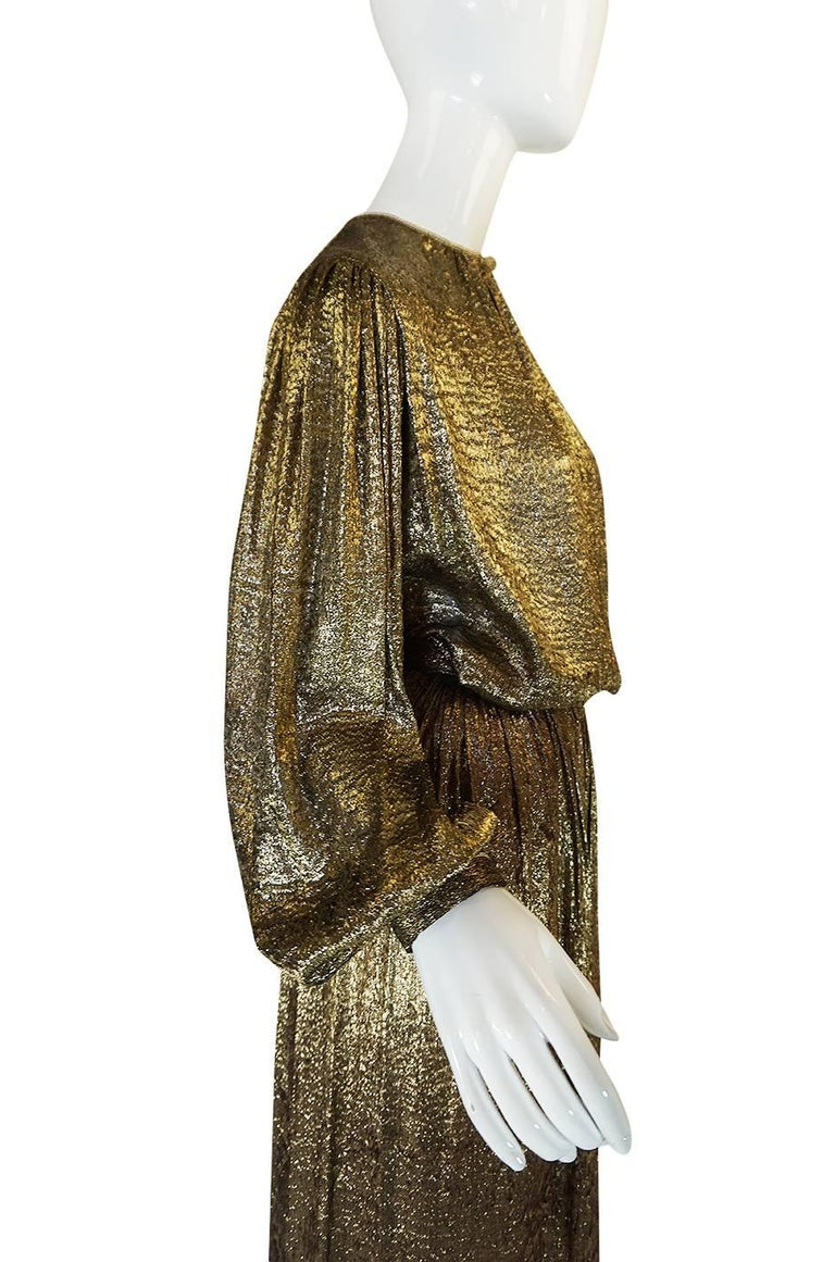 Yves Saint Laurent Documented Gold Metallic Lame Set, 1976-1977  7