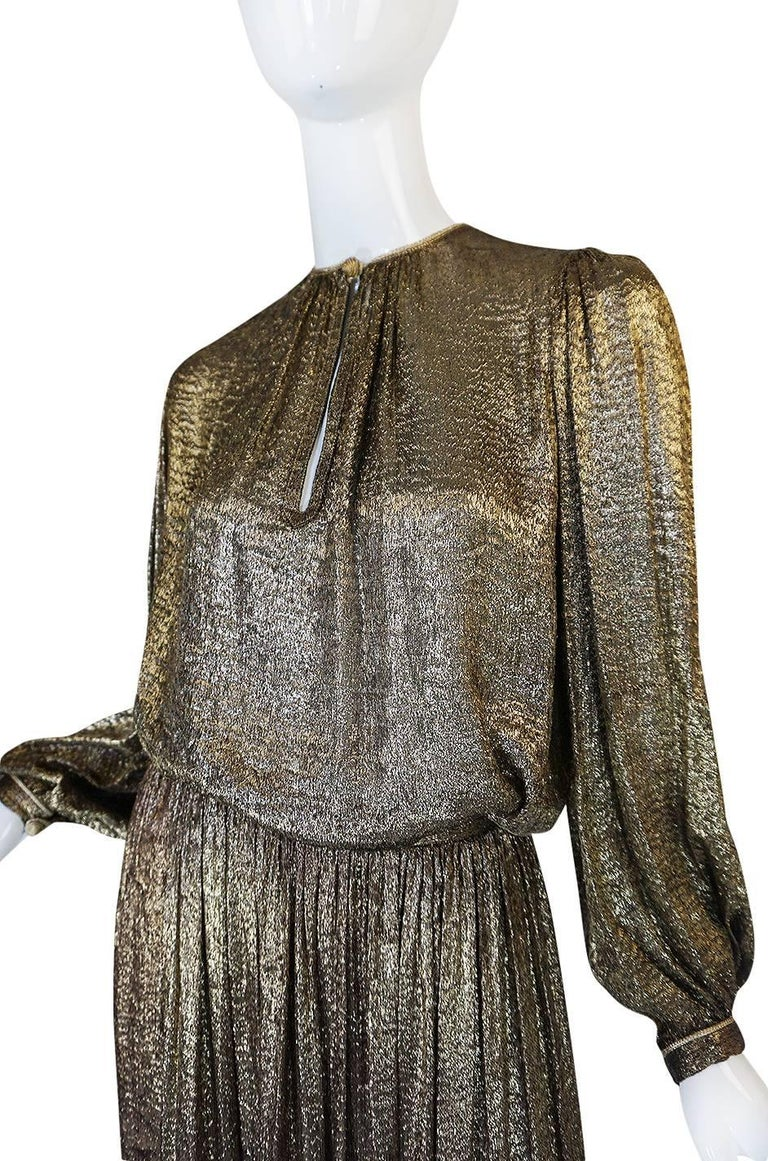 Yves Saint Laurent Documented Gold Metallic Lame Set, 1976-1977  8