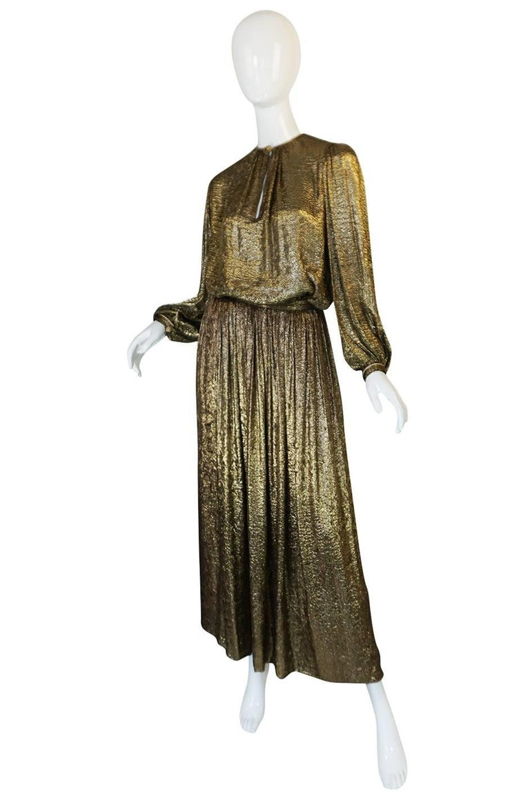 Yves Saint Laurent Documented Gold Metallic Lame Set, 1976-1977  4