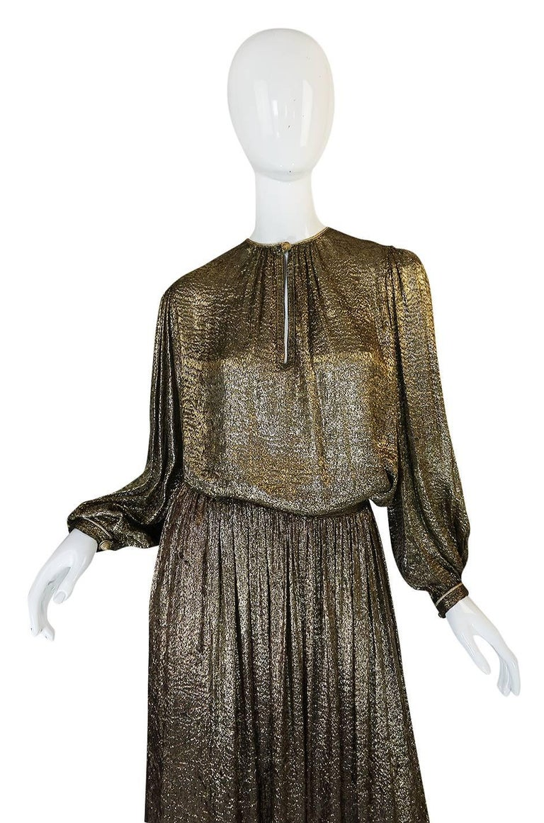 Yves Saint Laurent Documented Gold Metallic Lame Set, 1976-1977  5
