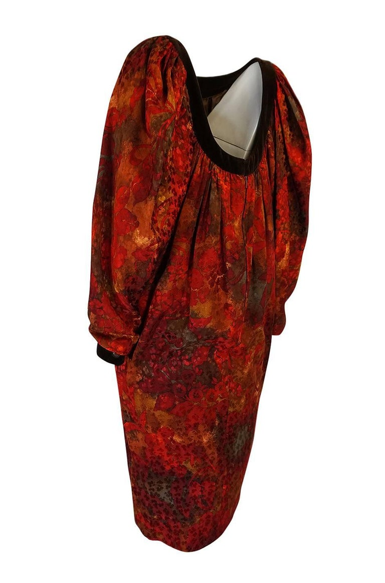 1980s Yves Saint Laurent Patron Haute Couture Silk Sack Dress 4