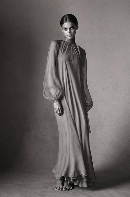 Documented 1973 Haute Couture Yves Saint Laurent Silk Gown 9