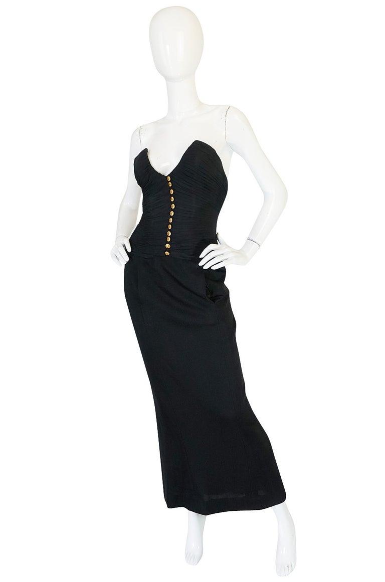 Black 1985 Chanel Silk & Jersey Corset Dress worn by Emily Ratajkowski For Sale