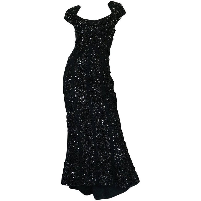 Recent Elie Saab Fully Beaded & Sequinned Black Dress