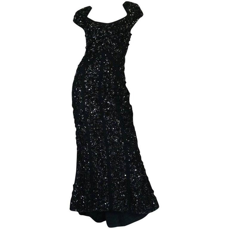 Recent Elie Saab Fully Beaded & Sequinned Black Dress