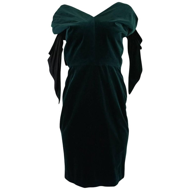 Antony Price Bottle Green Velvet Dress with Removable Bows, A / W 1989