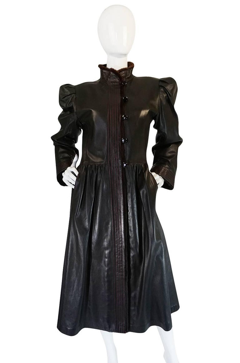 Black Yves Saint Laurent Russian Collection Fur and Leather Coat, 1976  For Sale