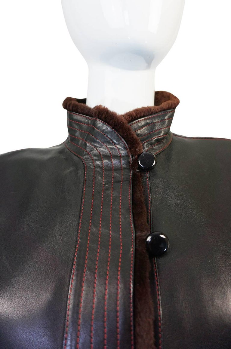 Yves Saint Laurent Russian Collection Fur and Leather Coat, 1976  For Sale 3