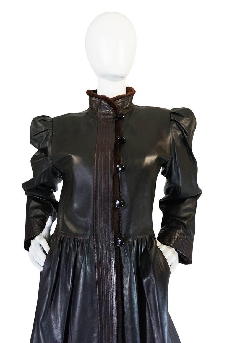 Women's Yves Saint Laurent Russian Collection Fur and Leather Coat, 1976  For Sale