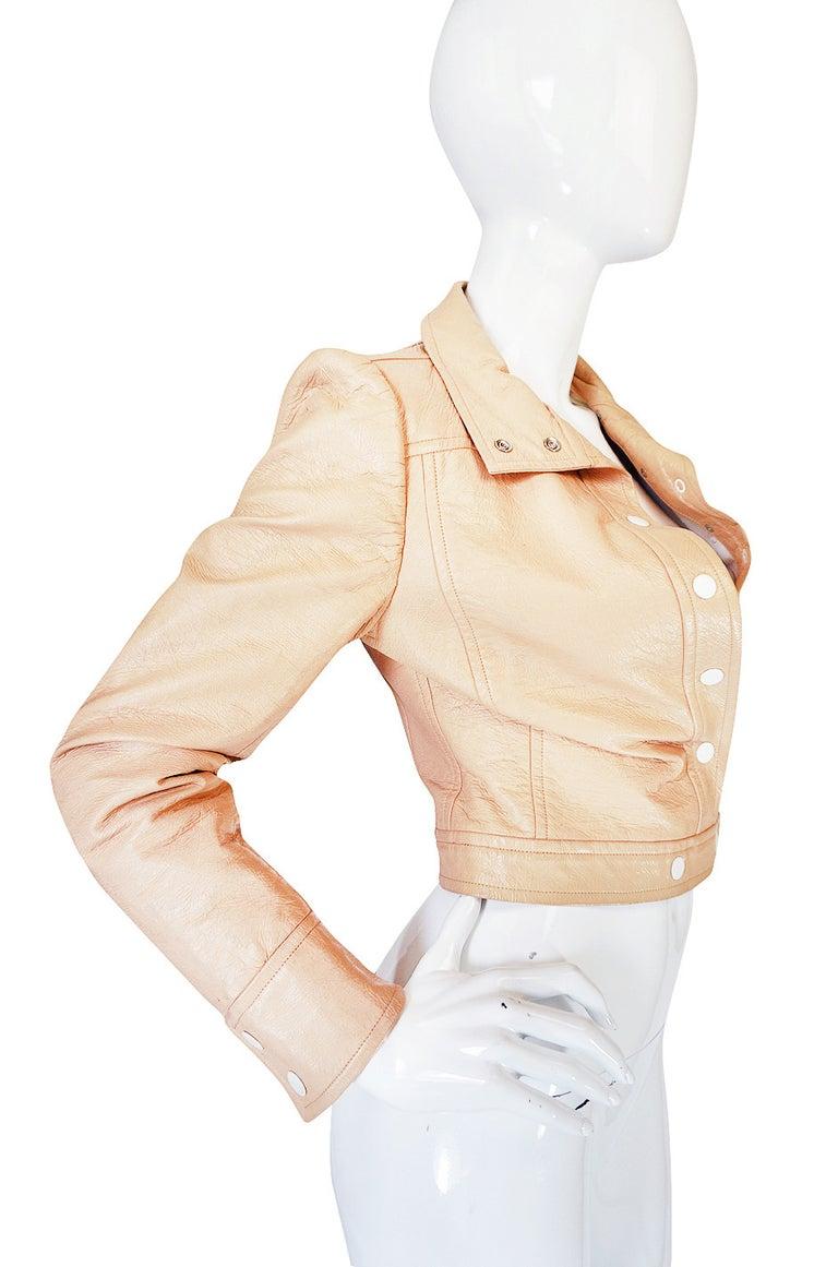 Orange Andre Courreges Documented Vinyl Crop Jacket in Buff, 1971 - 1972  For Sale