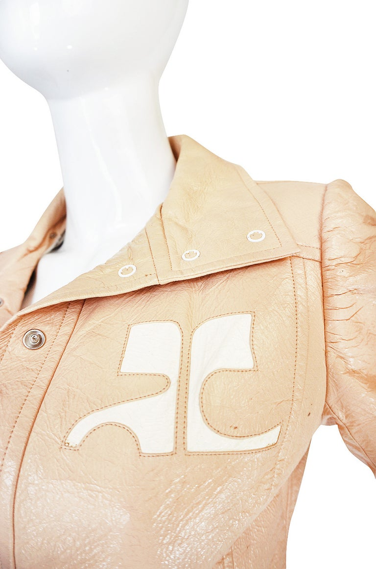 Andre Courreges Documented Vinyl Crop Jacket in Buff, 1971 - 1972  For Sale 1