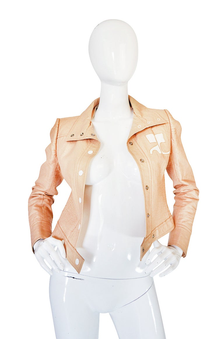 Andre Courreges Documented Vinyl Crop Jacket in Buff, 1971 - 1972  In Excellent Condition For Sale In Toronto, ON