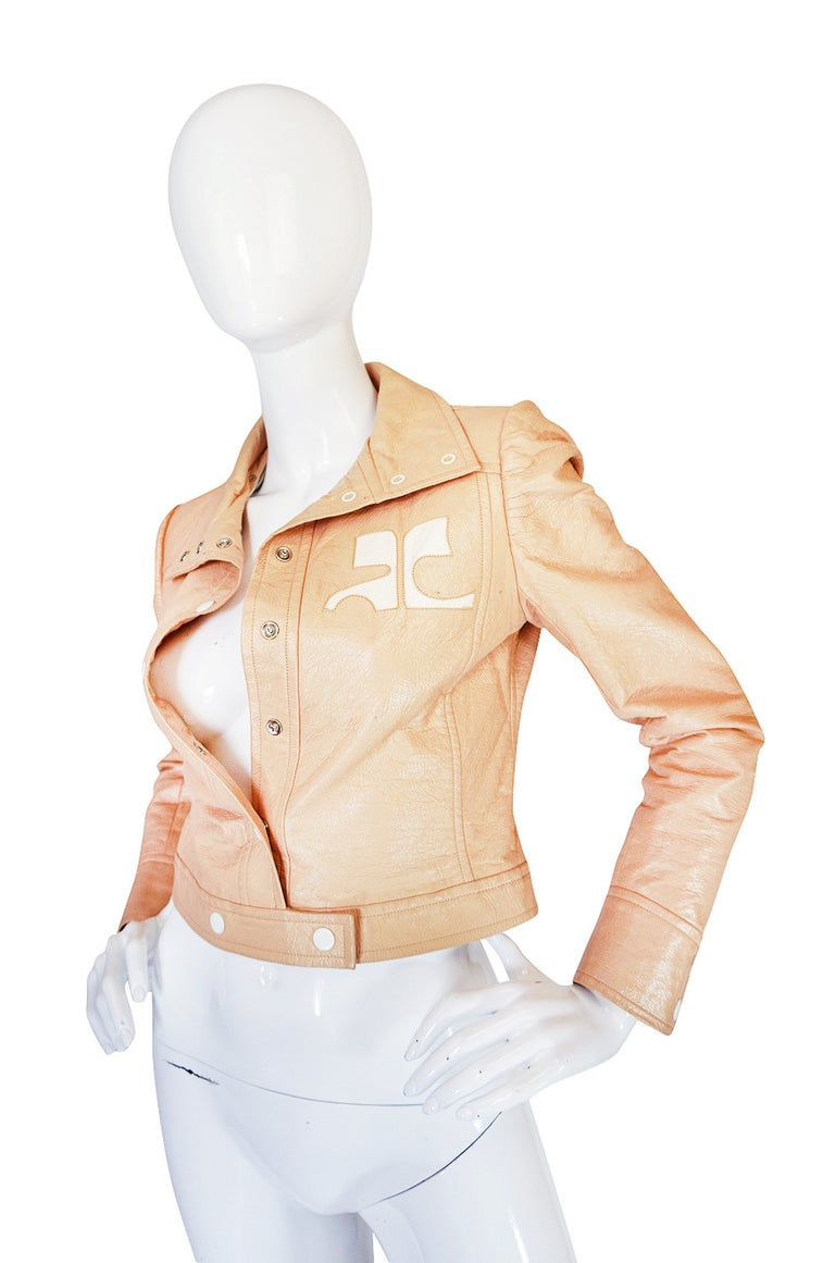 Women's Andre Courreges Documented Vinyl Crop Jacket in Buff, 1971 - 1972  For Sale