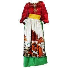 c.1977 Emanuel Ungaro Haute Couture Apron Skirt & Peasant Top